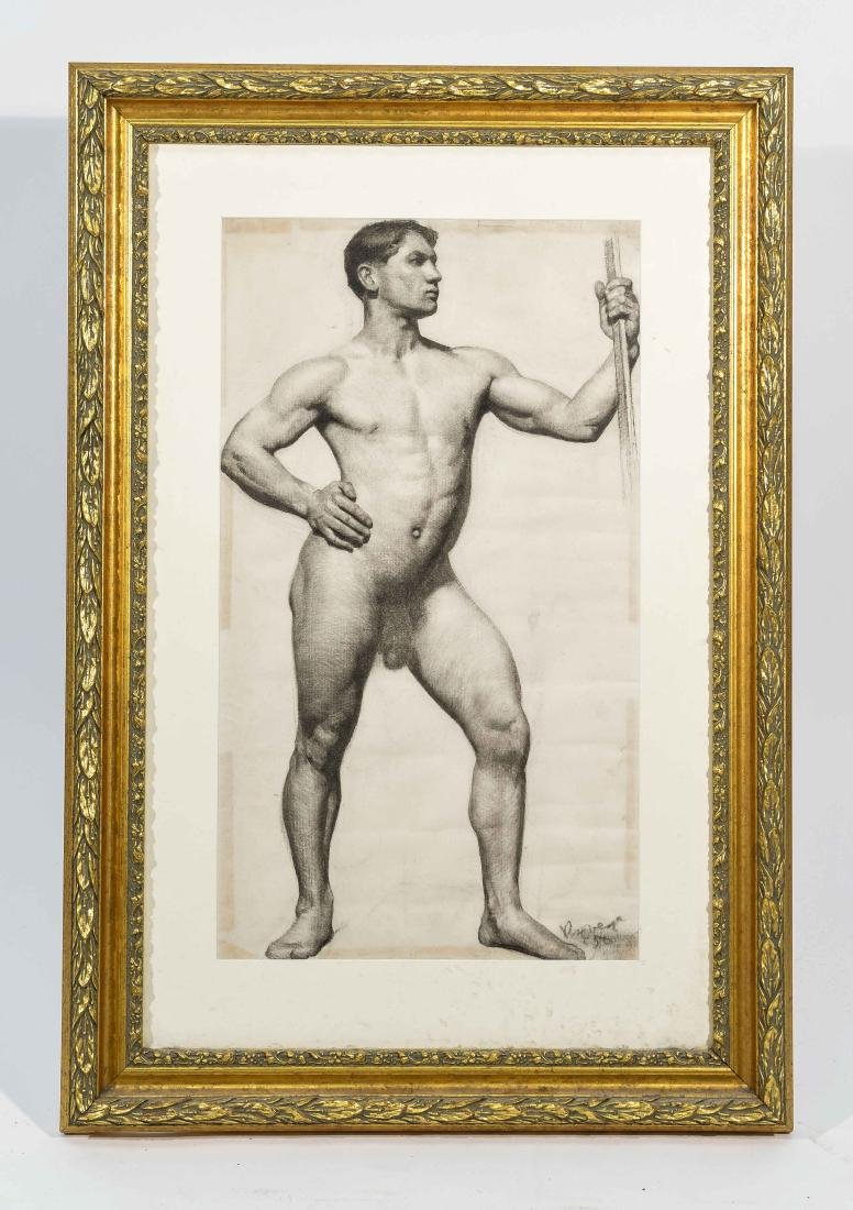 CHARCOAL DRAWING OF A MALE NUDE