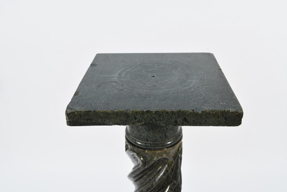 CARVED BLACK MARBLE PEDESTAL - 2