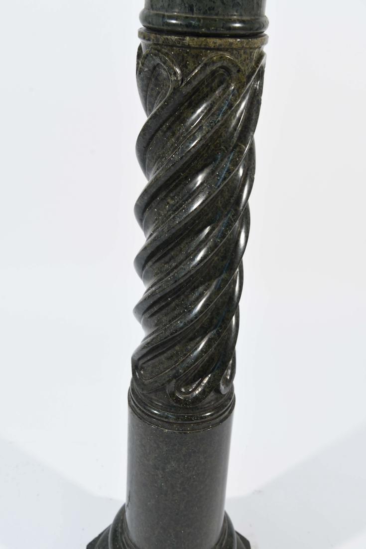 CARVED BLACK MARBLE PEDESTAL - 4