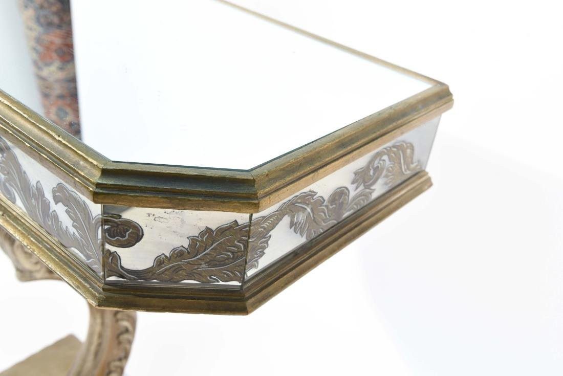 MIRRORED GLASS PEDESTAL CONSOLE - 10