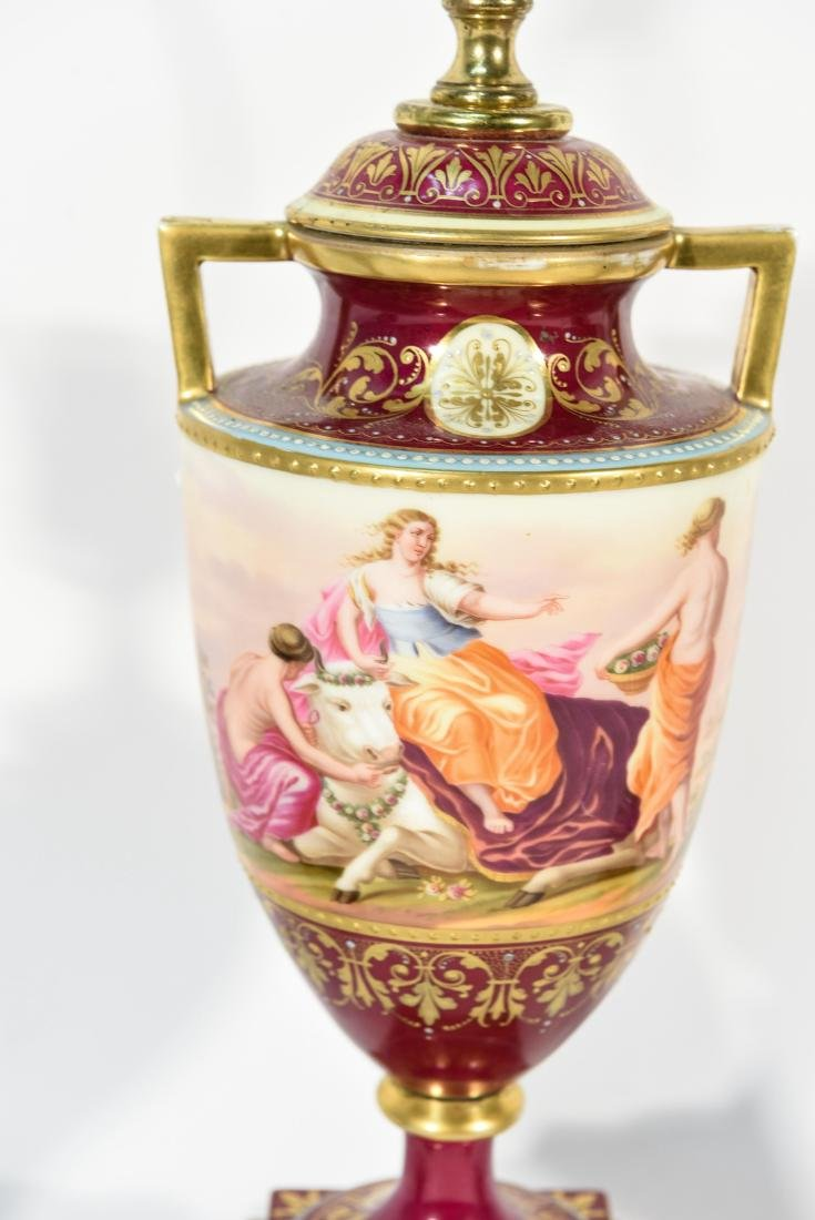 (3) PORCELAIN LAMPS MANNER OF VIENNA - 4