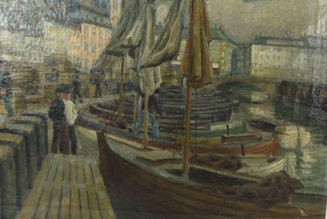 VIEW OF SHIPS IN HARBOR O/C PAINTING - 3