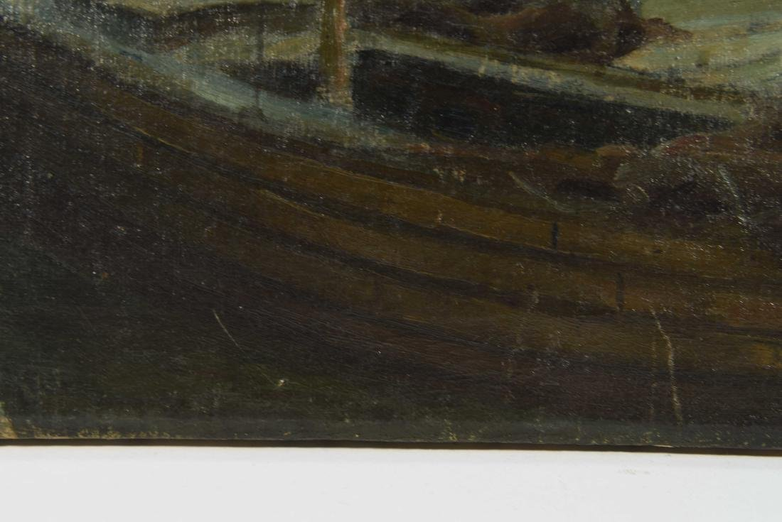 VIEW OF SHIPS IN HARBOR O/C PAINTING - 5