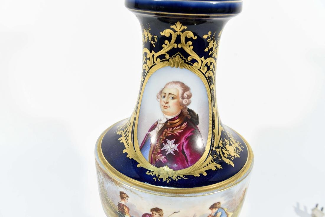 SEVRES HAND PAINTED PORCELAIN LAMP - 9