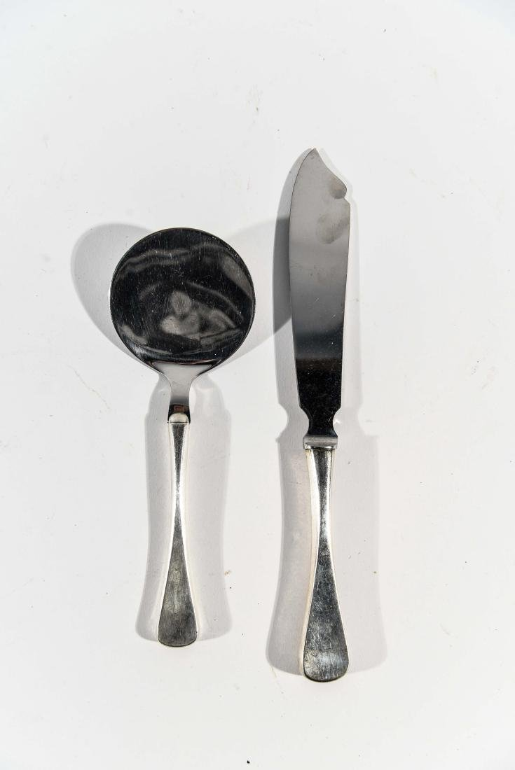 DANISH STERLING CHEESE KNIFE AND SERVER