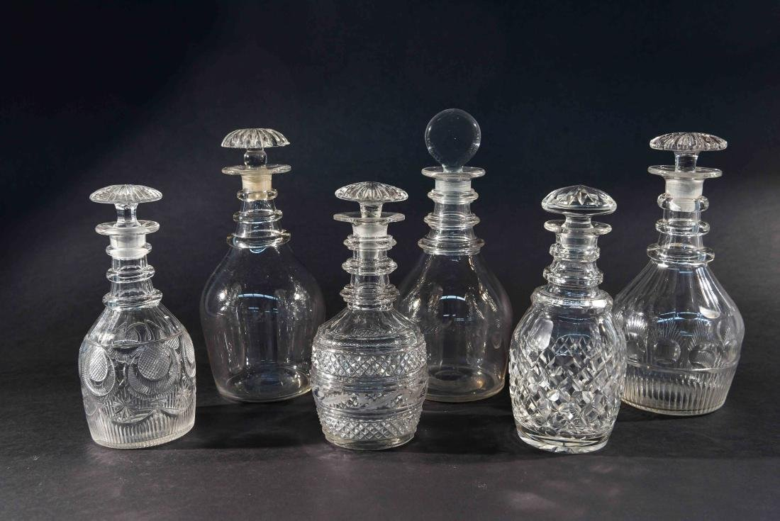 GROUPING OF 6 DECANTERS