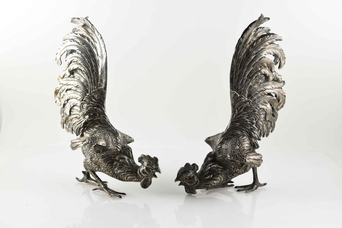 PAIR OF .800 SILVER FIGHTING ROOSTERS