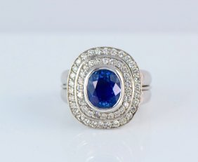 18K WG Ceylon Sapphire No Heat and Diamond Ring.
