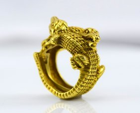 Kieselstein Cord 18K YG Alligator Ring.