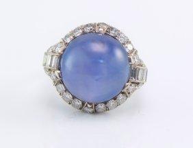 Art Deco Plat. Star Sapphire and Diamond Ring, C1940.