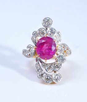 Art Nouveau Burma No Heat Ruby & Diamond Ring,GIA Cert.