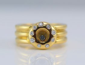 Chopard 18K YG Happy Diamond Ring.