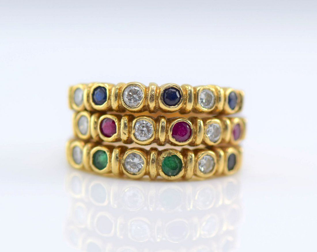 14k YG Sapphire, Ruby, Emerald and Diamond Ring, C1940.
