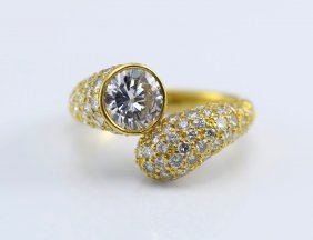 Harry Winston 18K YG Diamond Ring, GIA Cert.