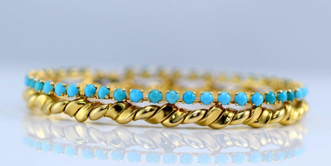 Van Cleef & Arpels 18K YG Turquoise Bangle. - 2