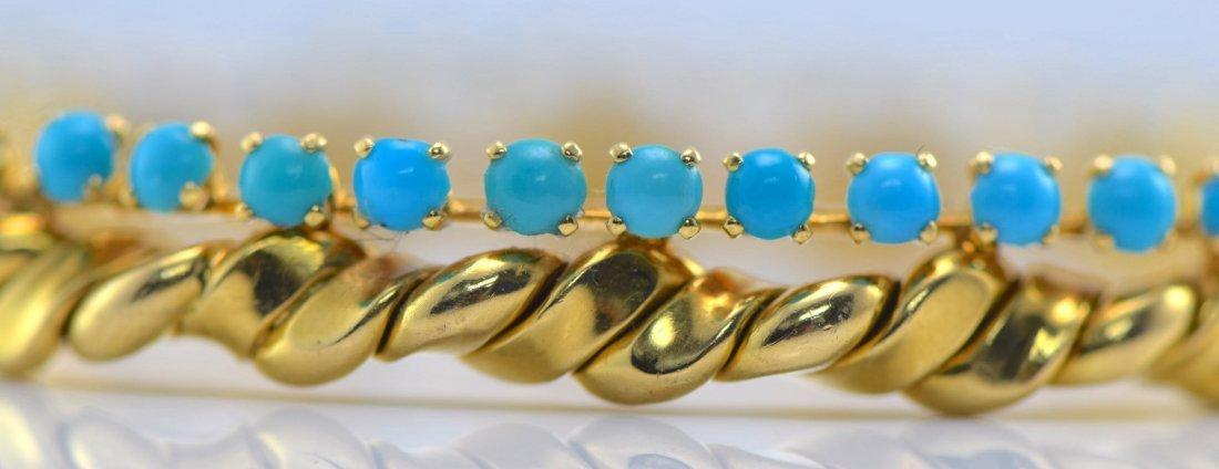 Van Cleef & Arpels 18K YG Turquoise Bangle. - 3