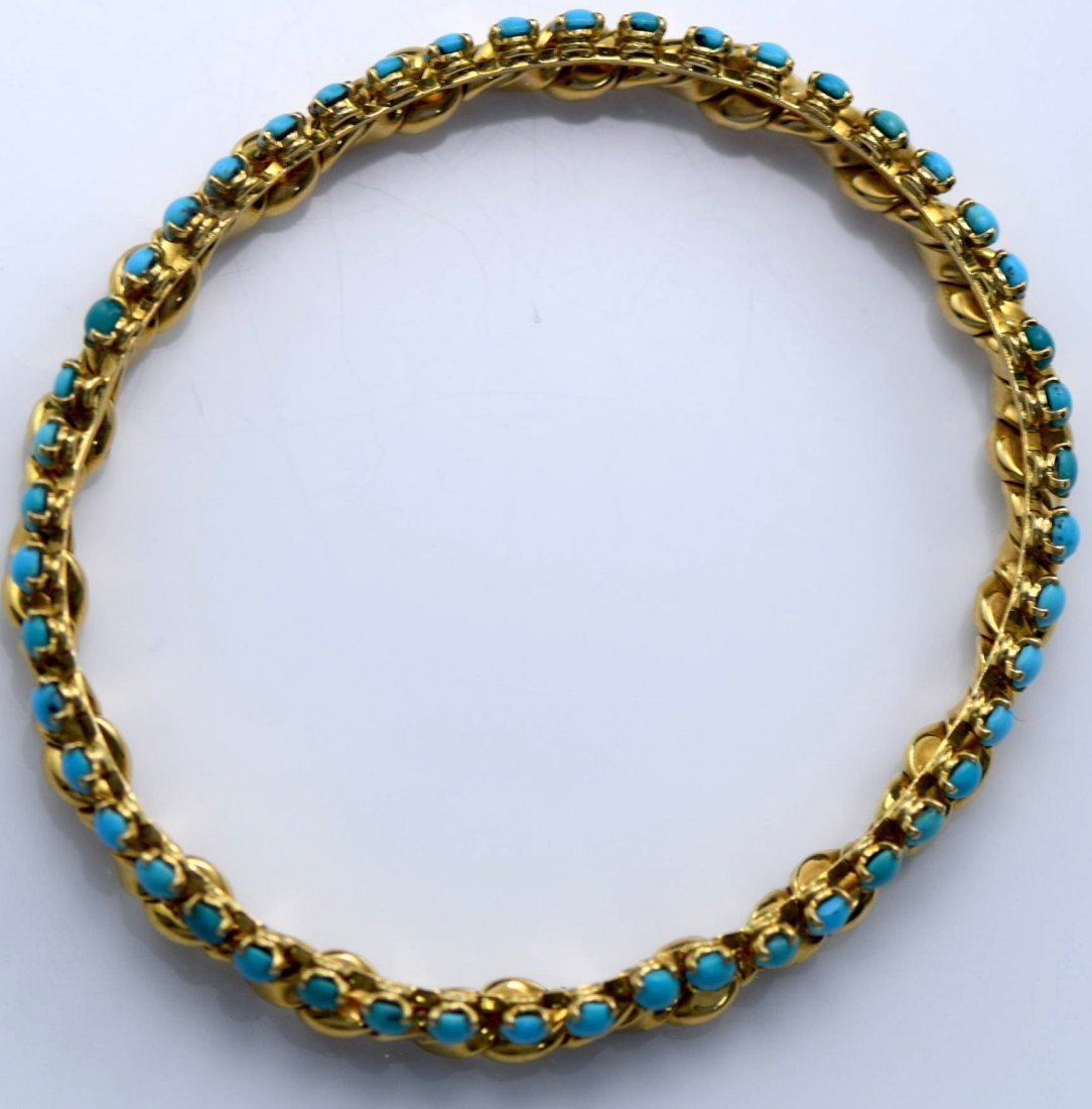 Van Cleef & Arpels 18K YG Turquoise Bangle. - 4