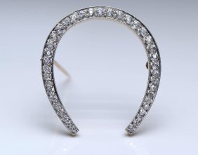 Black Starr & Frost Plat. Horse Shoe Diamond Pin.