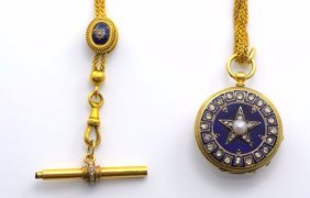 Antique 18K YG Enamel Fob Chain and Diamond Watch.
