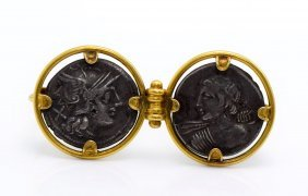Ancient Roman Coin Castellani From 19TH Century Brooch.