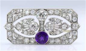 Art Deco Plat. Amethyst and Diamond Brooch