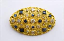 M. Buccellati 18k YG Diamond and Sapphire Brooch.