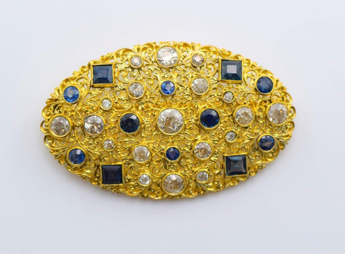 M. Buccellati 18k YG Diamond and Sapphire Brooch. - 2