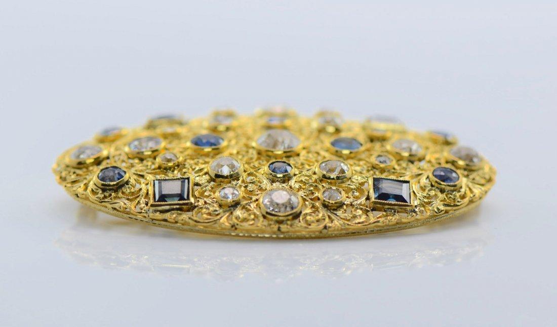 M. Buccellati 18k YG Diamond and Sapphire Brooch. - 4