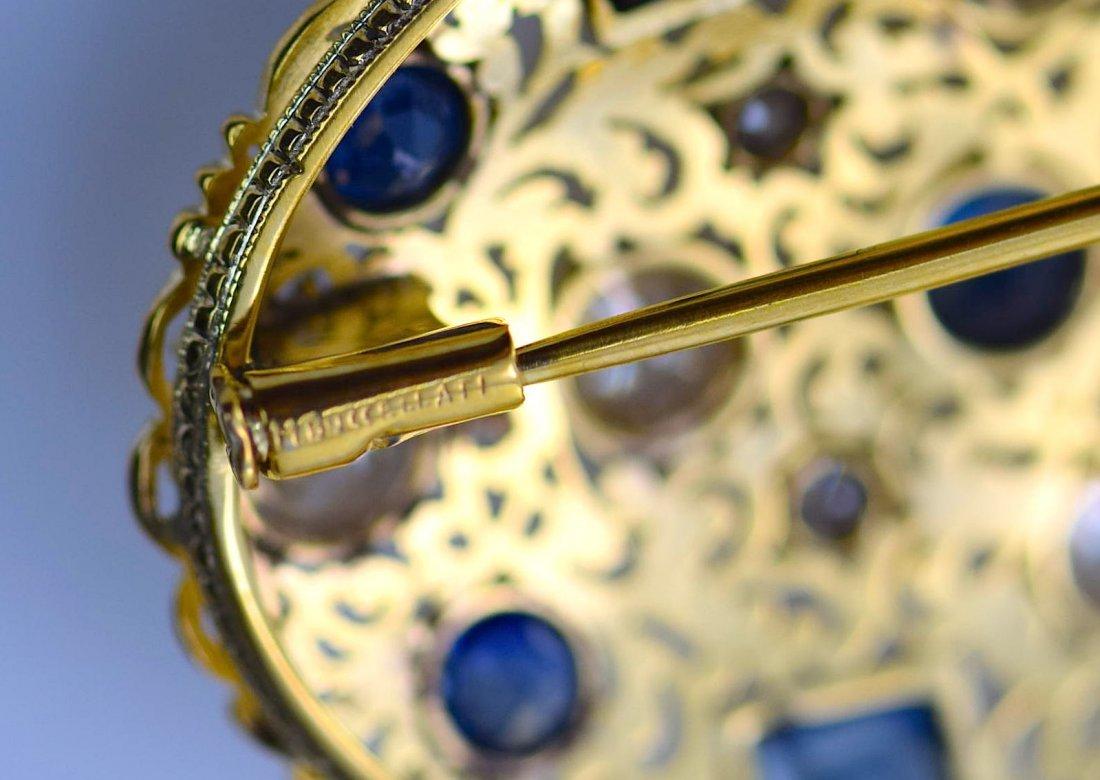 M. Buccellati 18k YG Diamond and Sapphire Brooch. - 5