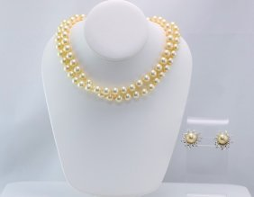 Gold Pair of Culture/Imitation Pearl Necklace& Bracelet