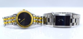 2 Movado Stainless Steel, Quarts Wrist Watches.