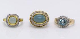 C.Krypel 3 Silver & Gold Multi-Colored & Diamond Rings.