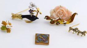 5 Gold and Low Karat Gold Brooches and Pins.