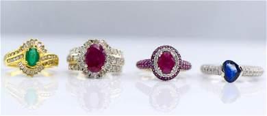 4 Gold Sapphire, Diamond, Ruby & Emerald Rings.