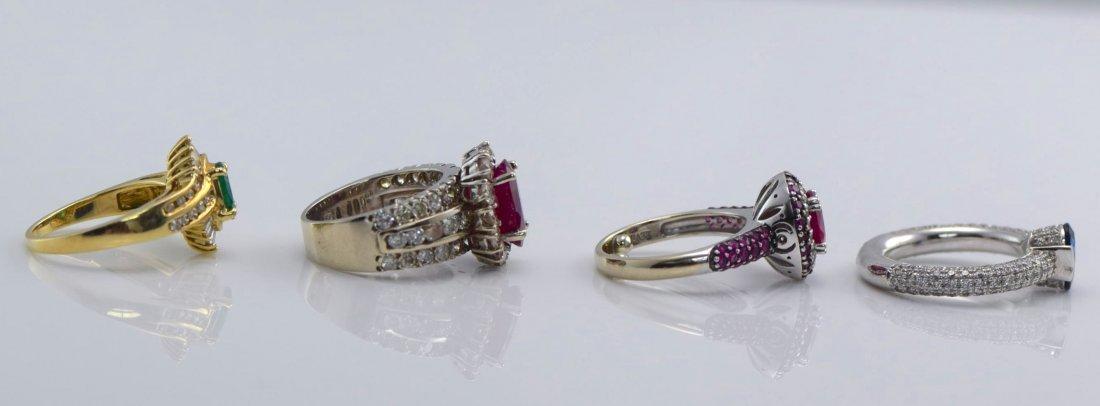 4 Gold Sapphire, Diamond, Ruby & Emerald Rings. - 9