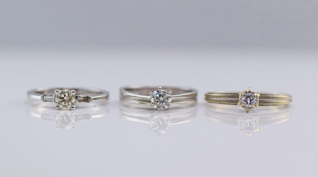 3 White Gold & Diamond Rings.