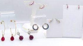 6 Pairs Gold Ruby, Diamond, Sapphire Earrings.