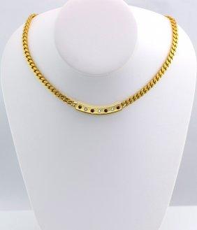 Cartier Italy 18K YG Diamond & Ruby Necklace.