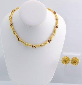 18K YG Ruby & Diamond Earclips & Necklace.