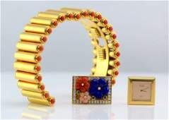 Van Cleef & Arpels 18K YG Reversible Colorful Watch.