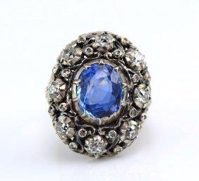 M. Buccellati 18K YG & Silver Sapphire & Diamond Ring.