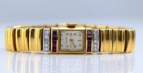 Cartier 14K YG Diamond & Ruby Watch, 1940's.