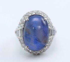 Plat. Star Sapphire & Diamond Ring.