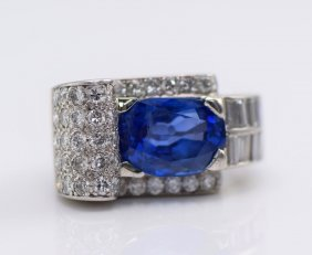 Plat. Ceylon No Heat Sapphire & Diamond Ring, GIA Cert.