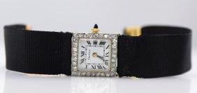Cartier French Plat. & 18K YG Diamond Watch, C1920.
