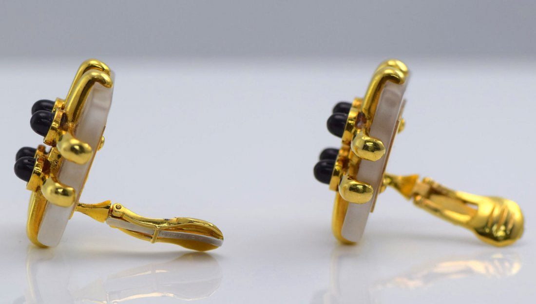 Cartier Aldo Cipullo 18K YG  Onyx & Crystal Ear Clips. - 3