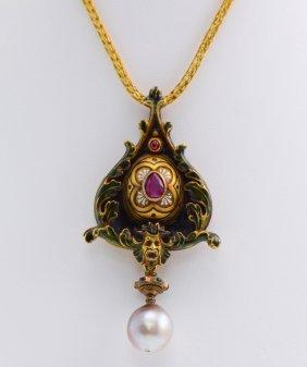 Castellini Plique a Jour, Natural Pearl & Ruby Necklace