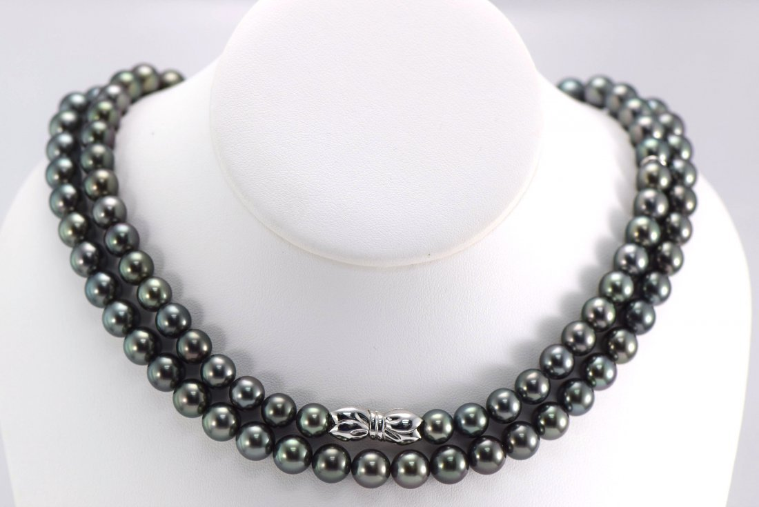 MikiMoto 18K WG Extremely Fine Tahitian Pearl Necklace.