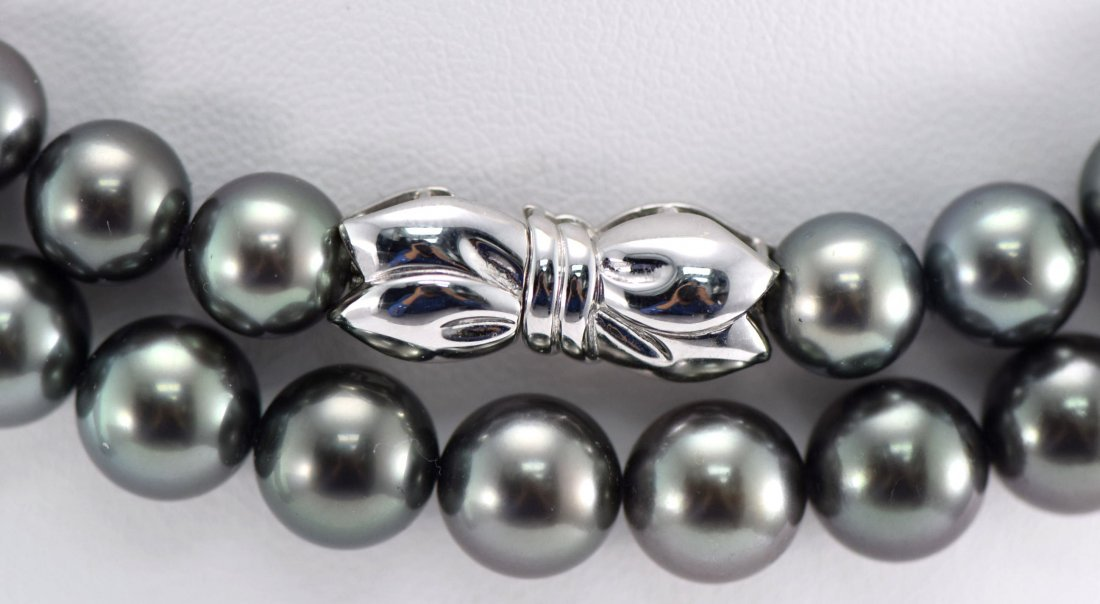MikiMoto 18K WG Extremely Fine Tahitian Pearl Necklace. - 2