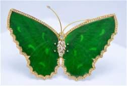 GIA 18K Large Jadeite Jade & Diamond Butterfly Brooch